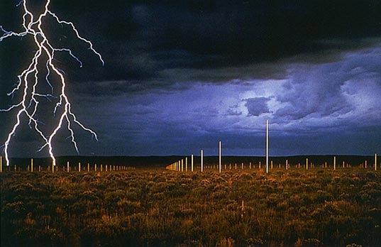 Lightning field at night